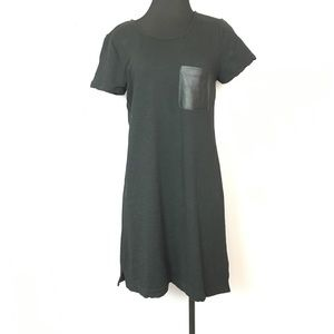 Gap shirt dress faux leather pocket